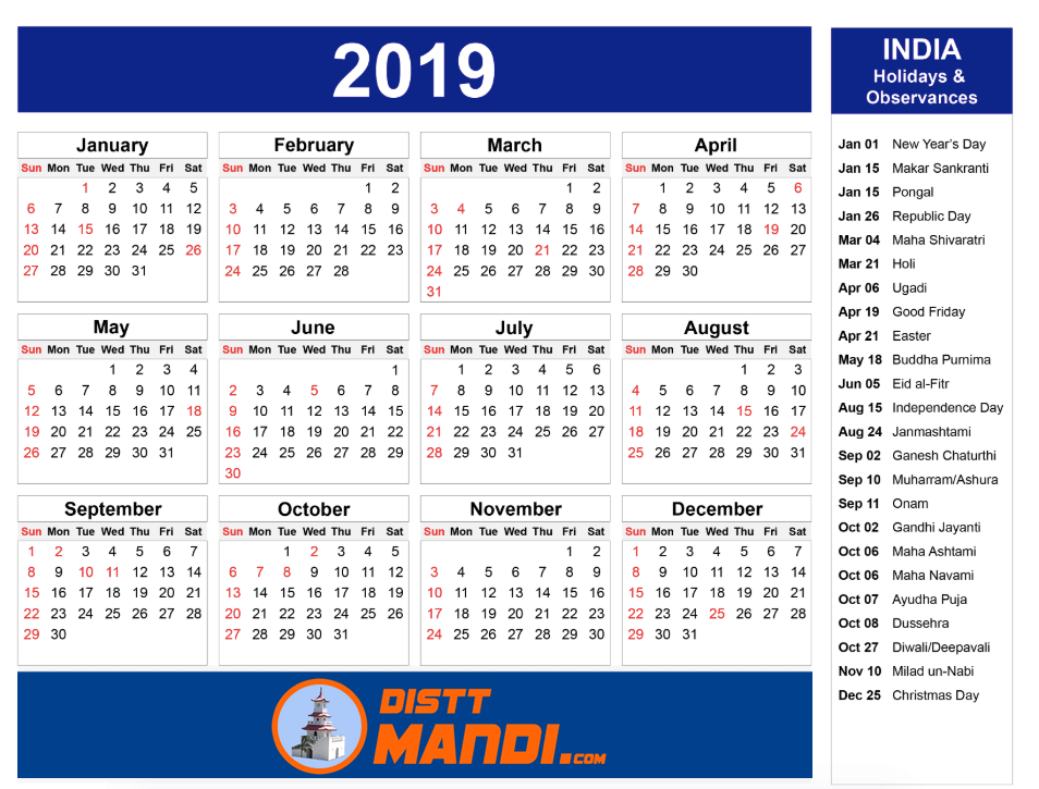 HP Government Holidays Calendar 2019 - Mandi Himachal Pradesh
